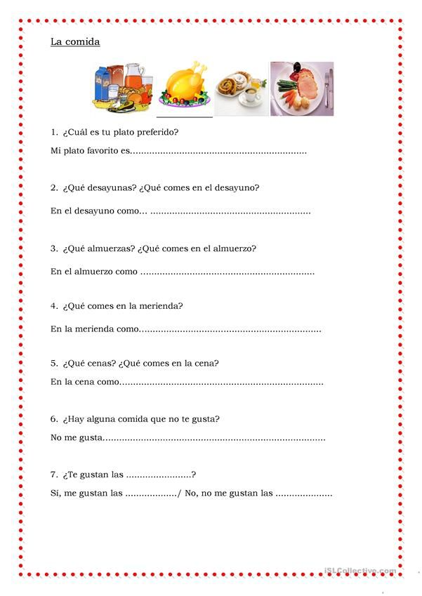 la comida | Teaching | Spanish worksheets, Teaching spanish ...
