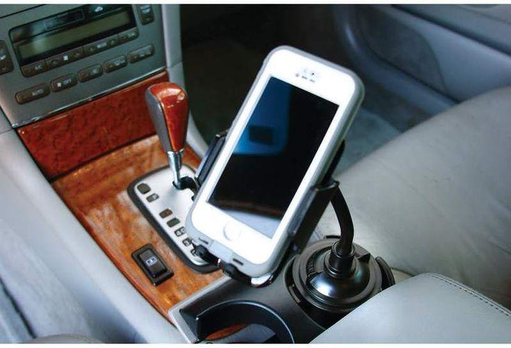 diamond plate adjustable car cup holder phone mount