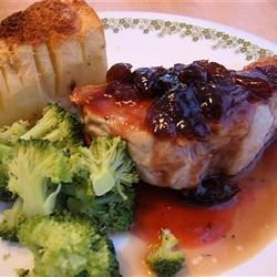 """Pork Chops With Black Cherry Sauce I """"This sauce is the most delicious thing I have ever made. I would pour it on pancakes its so good!!"""""""