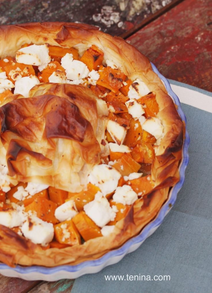 Caramelised Onion Tart with Feta and Pumpkin - Cooking with Tenina