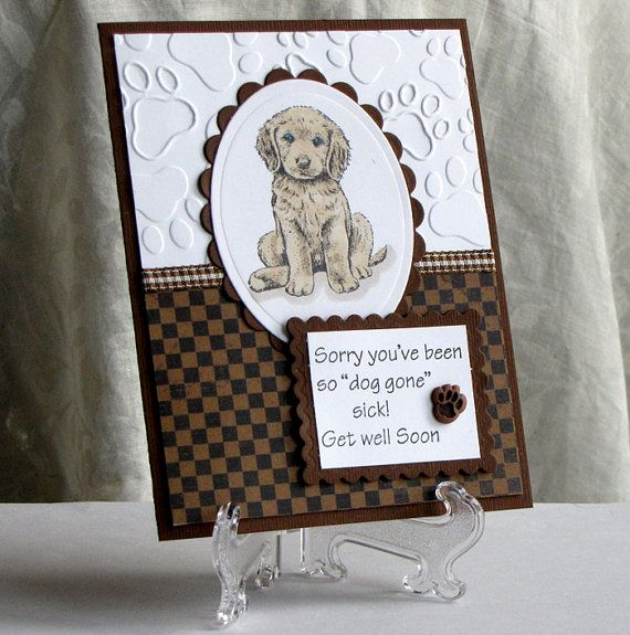 Cocker Spaniel Dog - Get Well Card - Custom - Handstamped Greeting Card