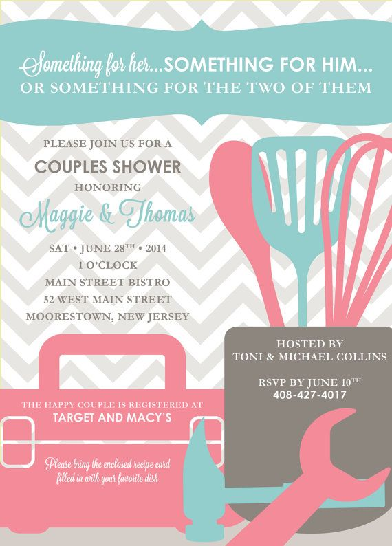 Modern Tool & Kitchen Shower His and Hers Couples Shower Invitation by kreativees