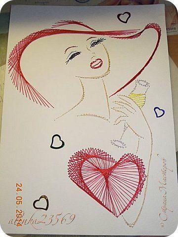 Картина панно рисунок Изонить мои работы Картон Нитки фото 1