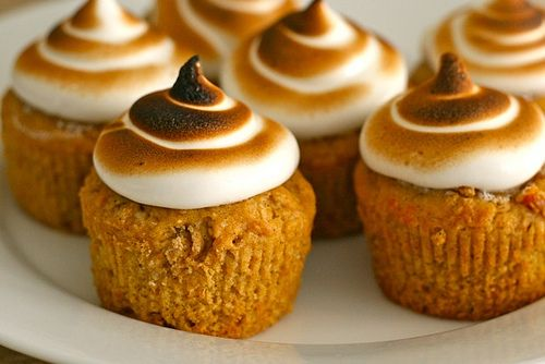 Recipe for Sweet Potato Cupcakes with Toasted Marshmallow Frosting. Thanksgiving anyone?!