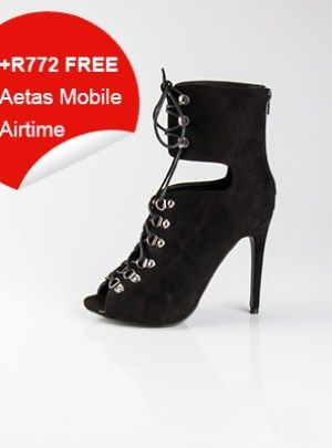 Suede High Heeled Boots (Black)