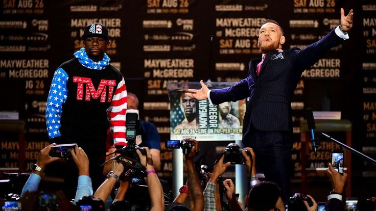 "Floyd Mayweather and Conor McGregor treated nearly 11,000 fans to a ""great spectacle"" of verbal jabs Tuesday, when the two brash fighters faced off for the first time to launch a joint promotional tour for their Aug. 26 boxing match."