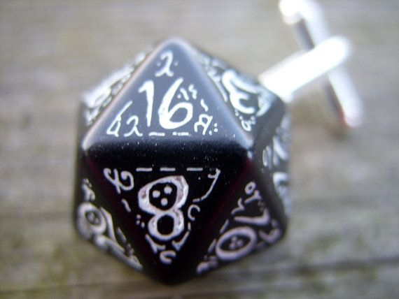 Elven D20 dice cufflinks black and white