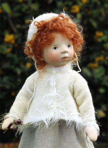 Red Mohair Girl In Cream Dress H283 by Elisabeth Pongratz