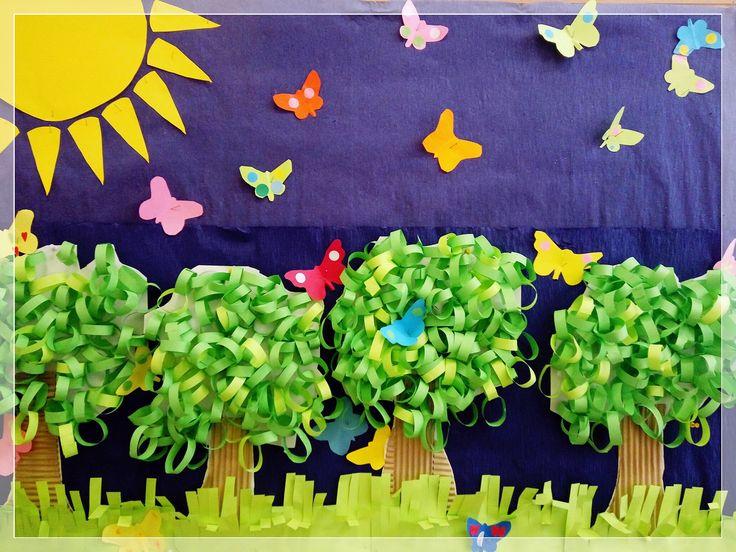 korony drzew z zielonych łańcuchów
