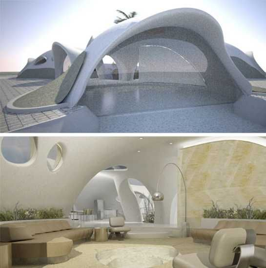 Lovely Binishell House Designs, Green Ideas In Architectural Design In Retro Style
