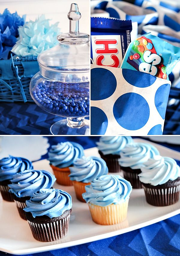 Blue Ombre Dessert Table {Boys Birthday Party}