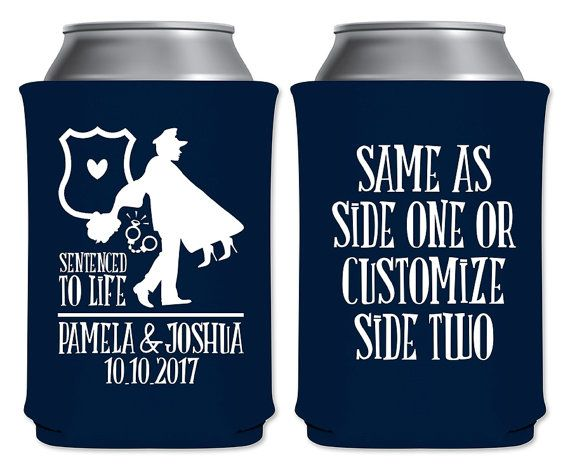 "Wedding Can Coolers Beverage Insulators Koozies Personalized Wedding Favors - Sentenced To Life Coozies by ""ThatWedShop"" on Etsy 