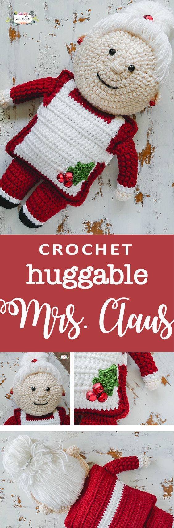 Crochet a Mrs. Claus huggable friend this Christmas with this free pattern!