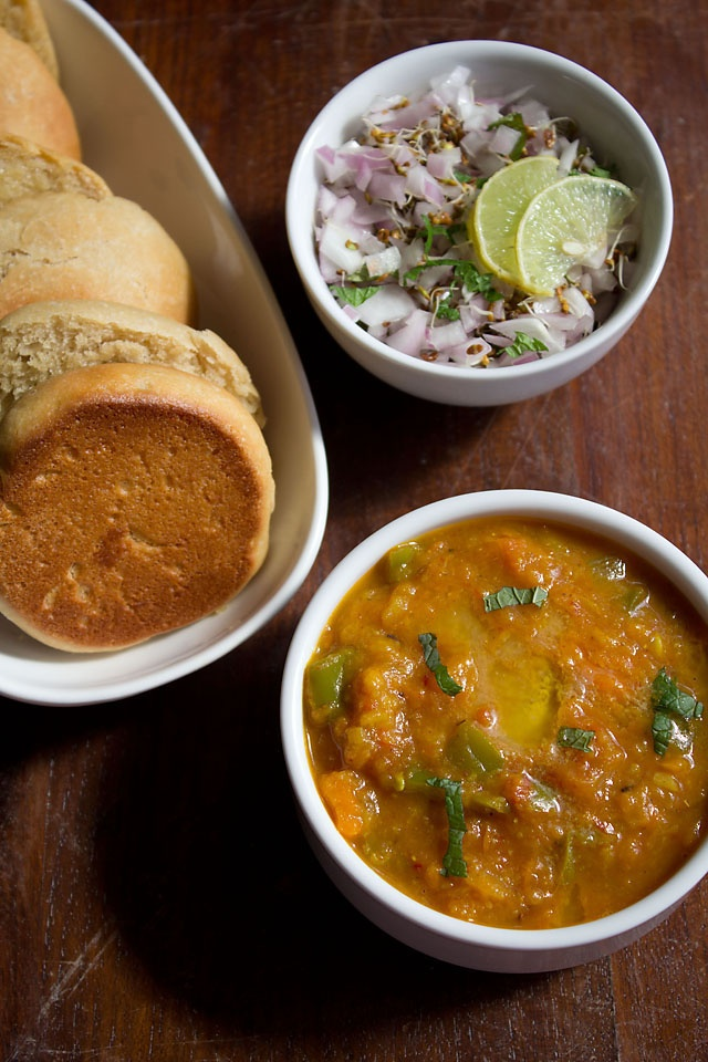 Bombay Pav Bhaji - Buttery Mix Vegetables served with Pav, an Indian Bread.