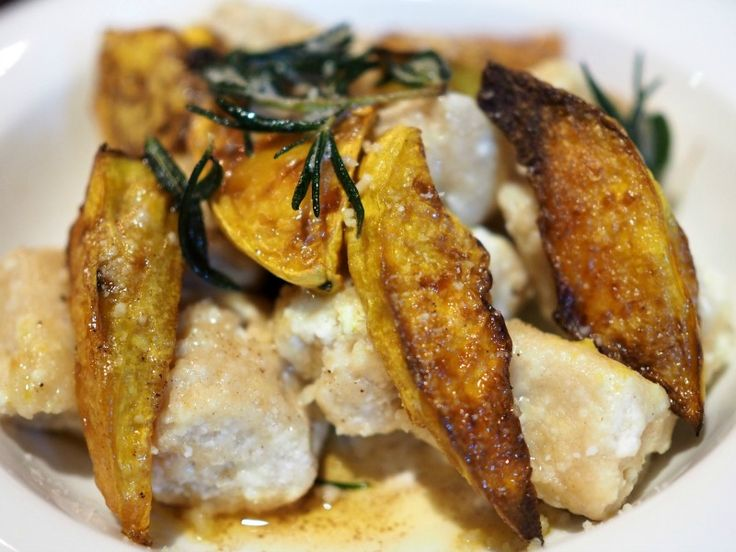 Spelt Ricotta Gnocchi with roast pumpkin, brown butter and crispy rosemary. Perfect winter fare.