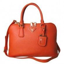 Knockoff Designer Fashion Prada Calfskin Leather Tote Bag - Orange