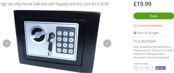 "Get a secure safe with key lock, for £19.99* at Groupon If you're not a member click here: Check freebie (Then either search for ""High Security Home Safe Box with Keypad and Key Lock fo…"