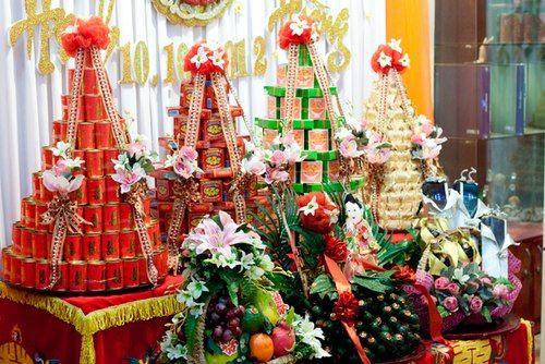 regalos tradicionales de parte del novio en una boda tradicional vietnamita