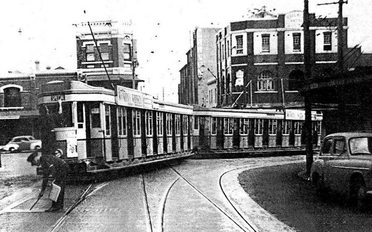 Tram, turning into Regent Street from Redfern Street. Redfern. 1957