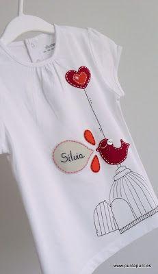 Punt um punt -  #Camiseta con #fieltro y pintura