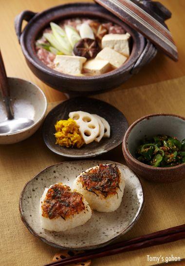 Japanese Dinner Table (Tofu Nabe Hot Pot, Yakionigiri Baked Rice Ball and Side Veggies)