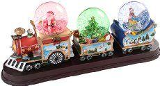 WeRChristmas Décoration de Noël Train avec 3 boules à neige animées 34 cm