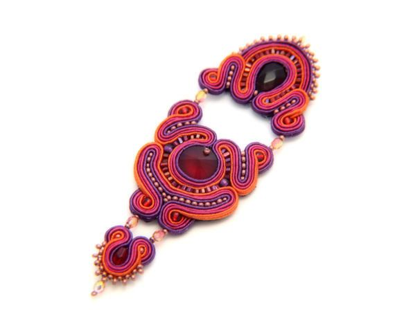 crystal warrior soutache pendant  free shipping by KimimilaArt