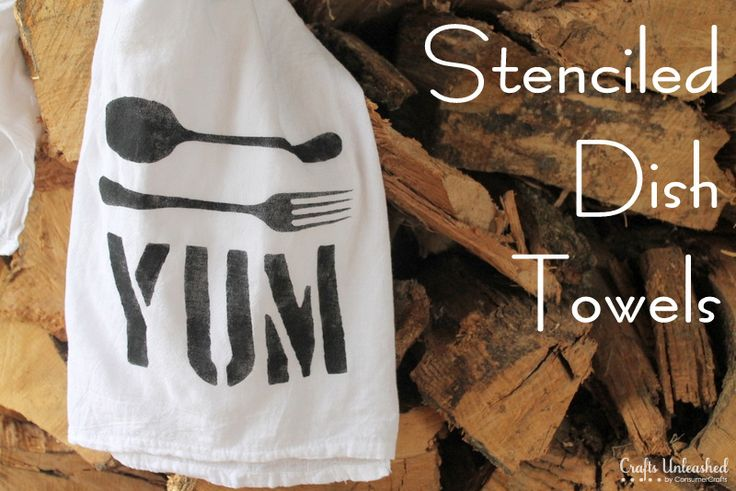 Make Your Own Custom Stenciled Dish Towels