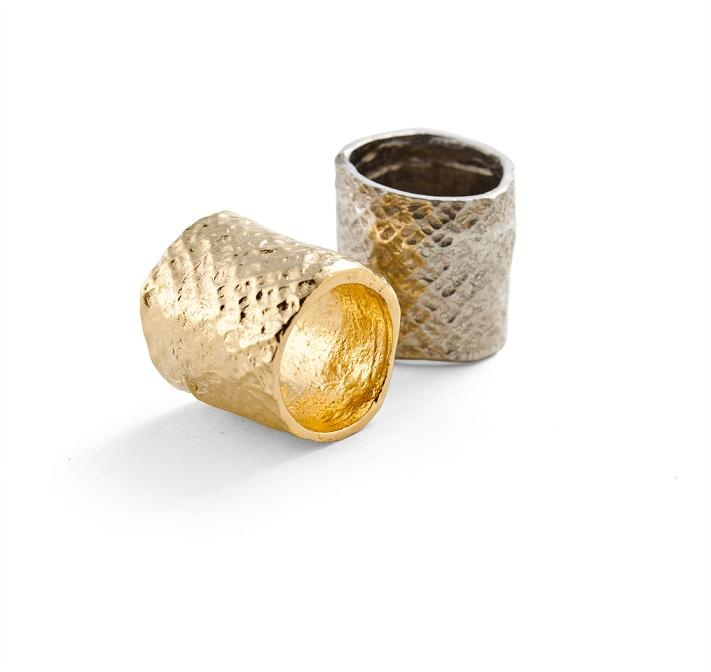 Kinora textured rings in gold and silver