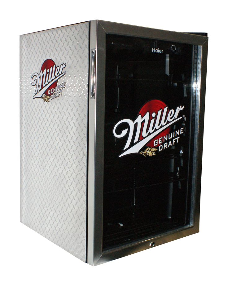 a beverage centre fridge branded with miller genuine draft the sides are covered with metallic - Glass Door Mini Fridge