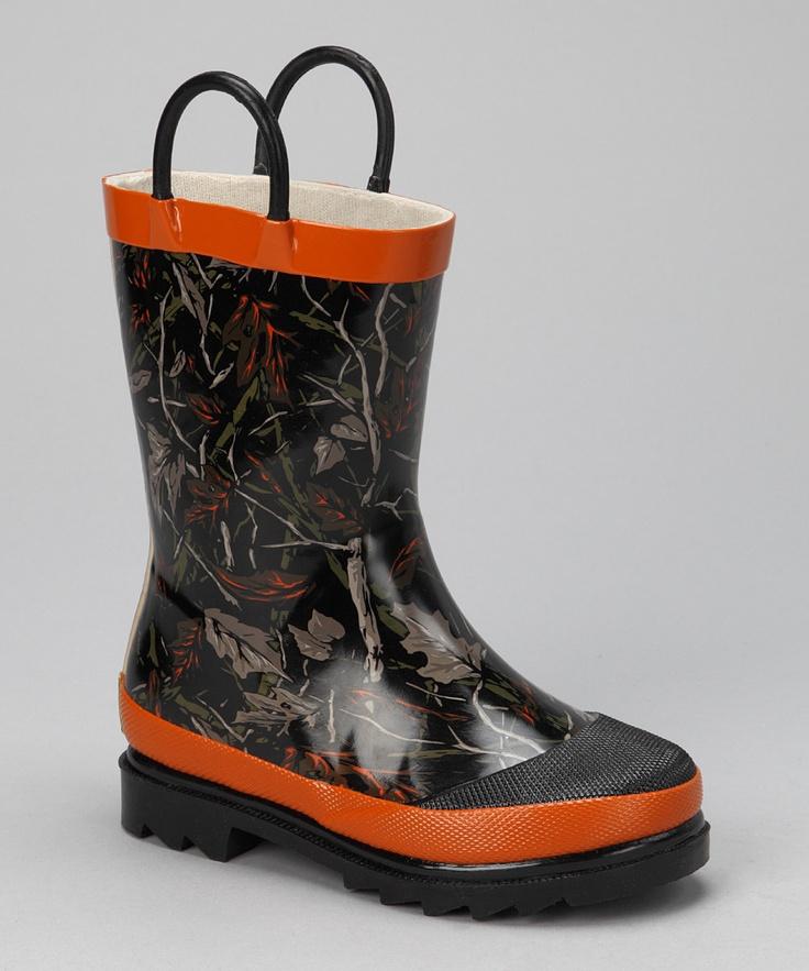 Orange Camo Leaf Jumper Rain Boot - Kids $19.99