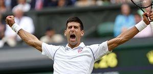 Novak Djokovic roars with triumph as he wins the Men's Finals.
