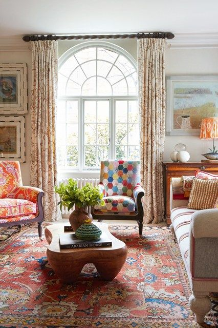 Kit Kemp via House and Garden // love the coffee table and the patchwork upholstery on the center chair