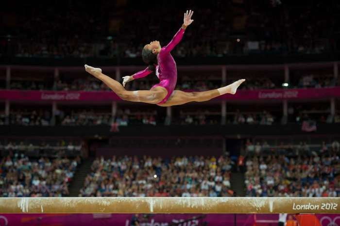 Gabby Douglas of the U.S. competes on the balance beam during the women's gymnastics all-around final of the London Olympics.