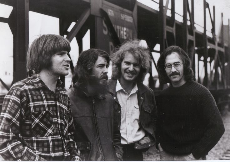 """Creedence Clearwater Revival..............................Before Creedence: 1959–1967 John Fogerty, Doug Clifford, and Stu Cook (all born 1945) met at Portola Junior High School in El Cerrito, California and began playing instrumentals and """"juke box standards"""" together under the name The Blue Velvets. The trio also backed singer Tom Fogerty— John Fogerty's older brother by three years—at live gigs and in the recording studio --."""