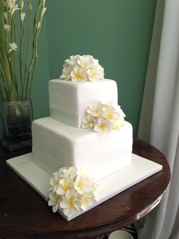 Two Tiered Frangipani Cake