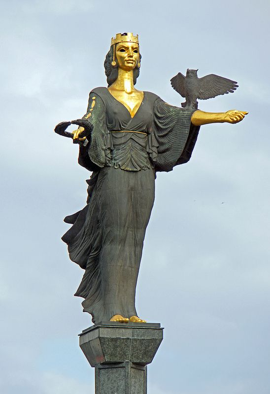 Saint Sofia is the patron saint of the city of Sofia, Bulgaria. The 407 ft. high bronze statue was designed by local sculptor George Chapkanov and replaced the statue of Vladimir Ilyich Lenin that was on the same spot. This is the newest statue in Sofia. (V)