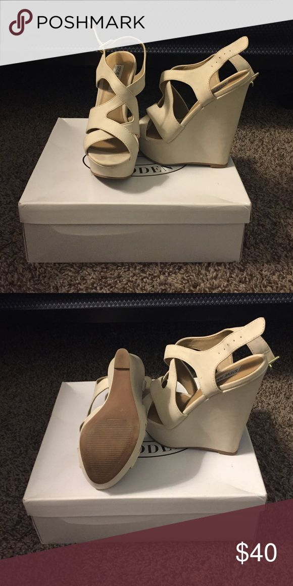 Bone color wedges These bone colored wedges have some smudges that can be taken out with and eraser so I was told. Other than that perfect condition Steve Madden Shoes Wedges