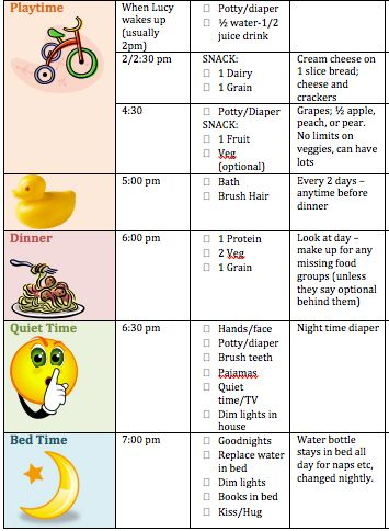 Like this for the toddler schedule.  Might help with Abby comes and we are attempting business as usual with helpers around.