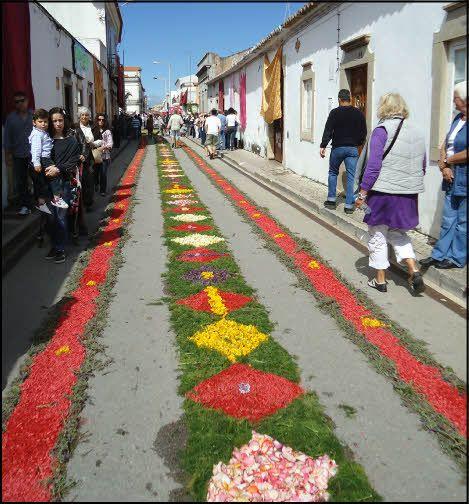 Beautiful flower petals carpet the streets of São Brás .Easter Sunday.