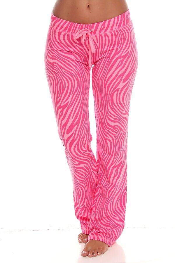 PINK ZEBRA PRINT COTTON RELAXED FIT DRAW STRING SWEAT PANTS