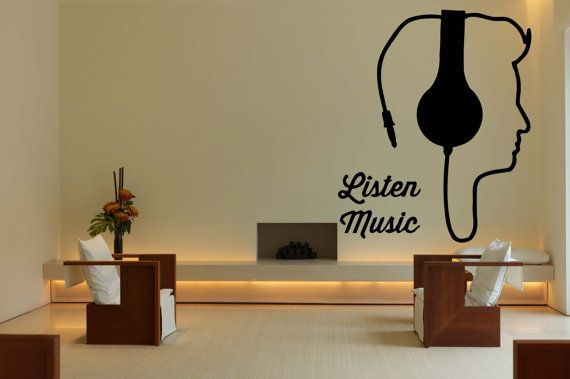 Removable Vinyl Sticker Mural Decal Wall Decor Poster Showcase Electronic Listen Music EDM Trance DJ Cool Headphones Love Sound Stereo F1962