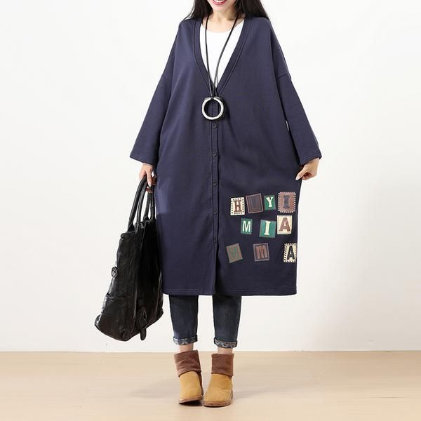 Stylish Letter Printing Single Breasted Women Blue Coat - Buykud