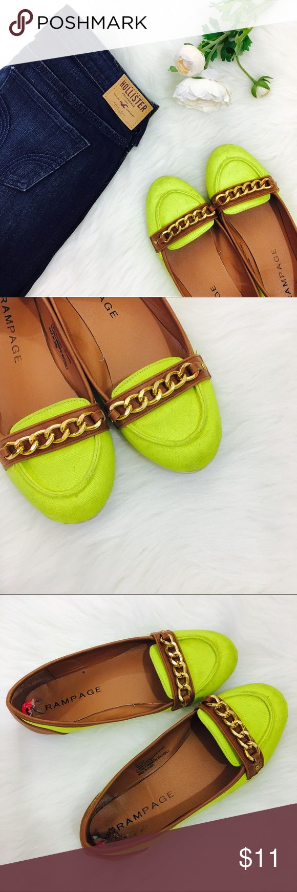 🆕 Rampage Neon Flats The perfect flats to punch up any springtime outfit! Good condition, no major flaws just a little dirty. Rampage Shoes Flats & Loafers