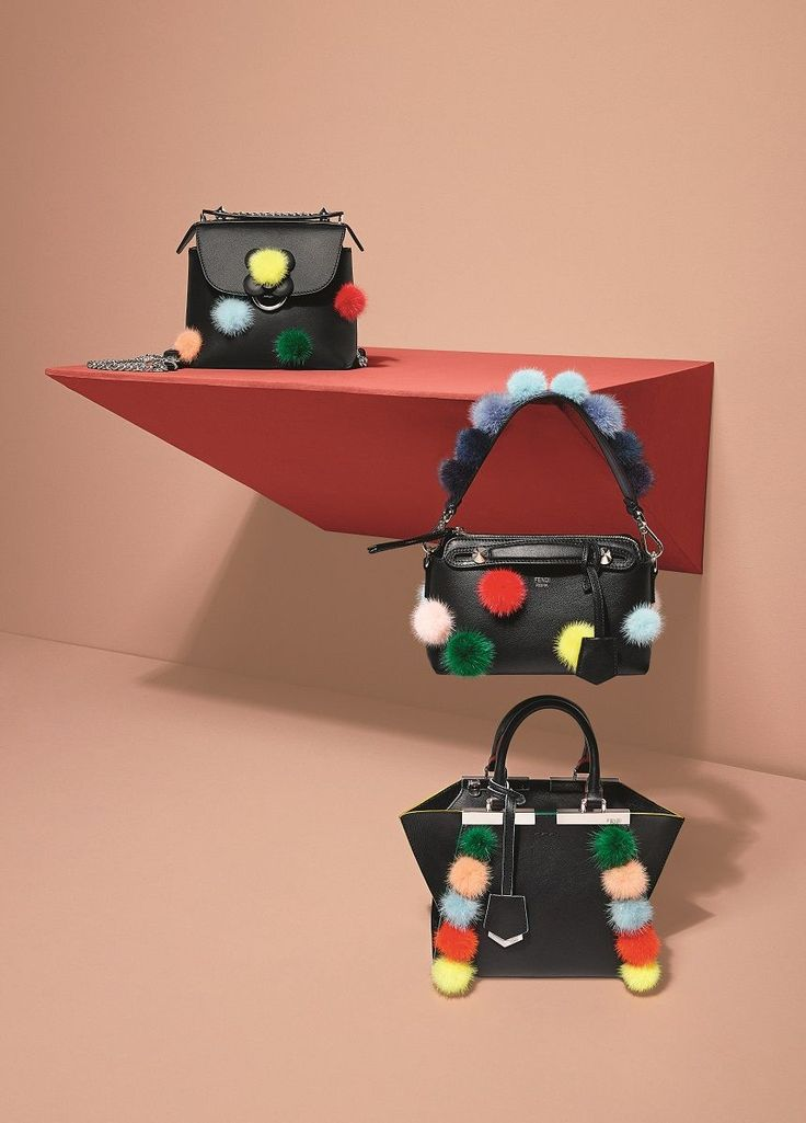 "Fendi on Twitter: ""Pom-pom takeover! Colorful pops of fluffy fun add playful vibes to black accessories. See them on https://t.co/LPxAHLEljy. #FendiPreFall17 https://t.co/0DVh7dGOBn"""