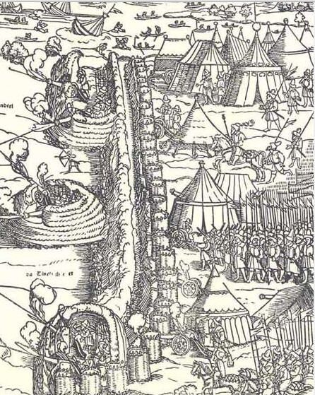 1541 Erhard Schoen Belagerung von Budapest (Siege of Budapest) DETAIL - Note the variety of tents in this camp (pavilions, wedge, cone)