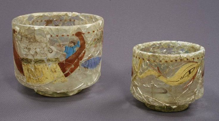 """Roman painted glass beakers excavated in Denmark in 2007. Danish archaeologists made an unprecedented discovery in the municipality of Ishøj, located just 18 km (11 mi) outside of Copenhagen, in October 2007: an intact grave of a high-ranking man or """"prince"""" from the Roman Iron Age (c. 1-400 CE). Hailed as one of the most important discoveries in recent memory, the grave provided a unique glimpse into the material wealth and aesthetic tastes of the ancient Danish elite."""
