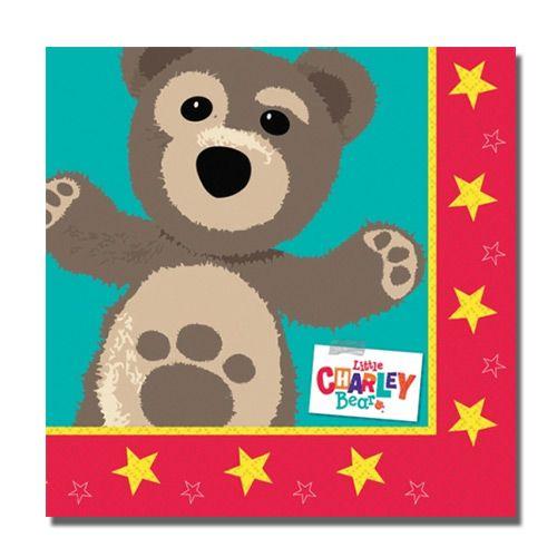 Papierowe serwetki jako element wyposażenia stołu urodzinowej imprezy dla dziecka z motywem Mały Miś Kuba.