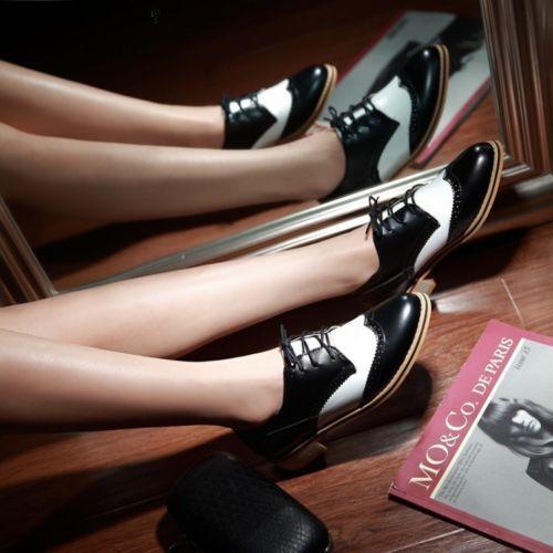 Nuevo-para-mujer-en-el-zapato-bajo-de-cuero-Chelsea-Cubano-talon-Colegio-Oxford-Casual-Zapatos-2014