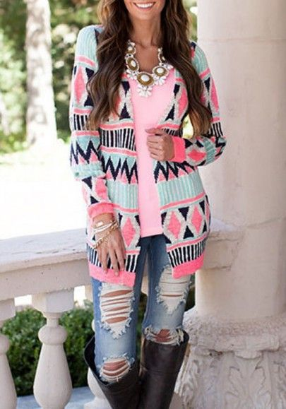 Multicolor Geometric Print Collarless Long Sleeve Aztec Cardigan Sweater For Women-11107476665-00